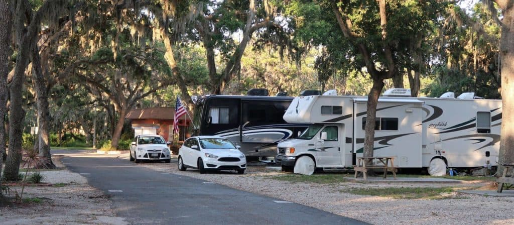 RVs parked in a nice RV park in Palmetto, FL
