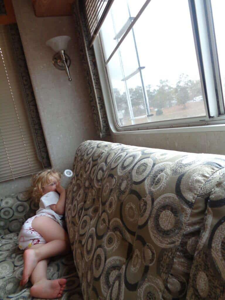 Chelsea laying down in the RV