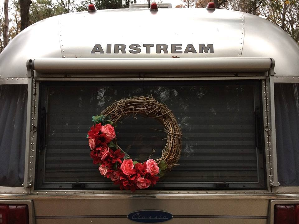 rose wreath on airstream window