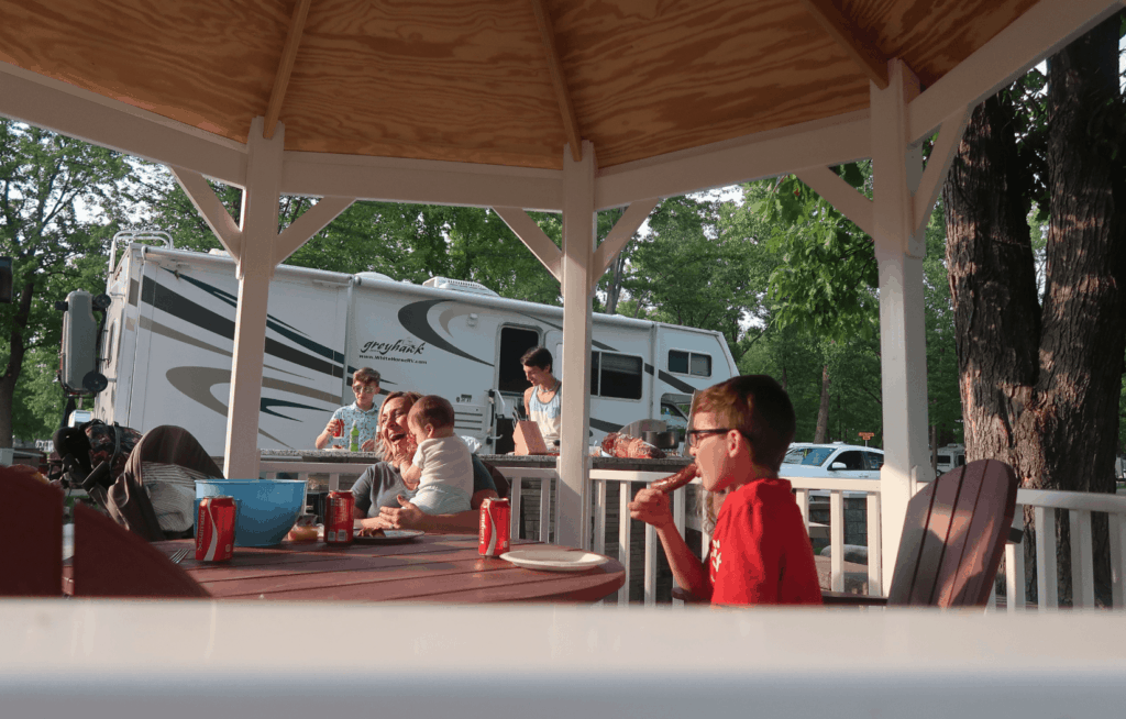 rv travel family memories at a campground cookout