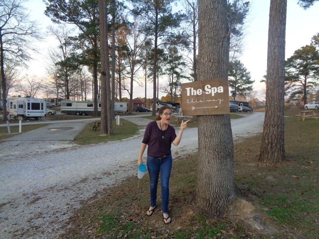 liz points to the rv park spa