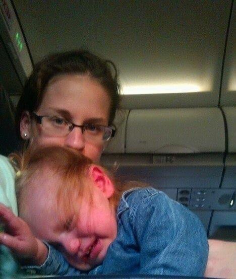 kid travels on plane