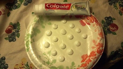 toothpaste dot camping hack
