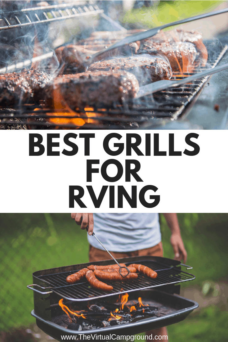 A portable grill is essential for creating drool-worthy camping recipes. Click to read this post to see which grills this full-time RVing family recommends for life on the road. | www.TheVirtualCampground.com