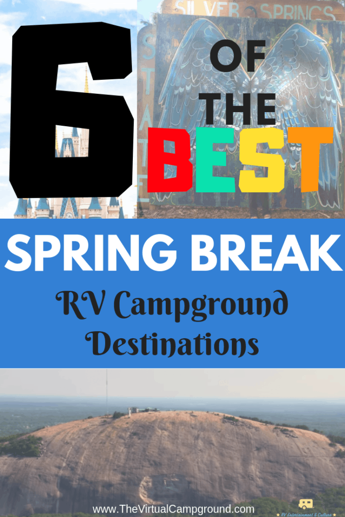 Check out this post to discover 6 of the best Spring Break RV campground travel destinations! Whether you are a full-time RV family, or a weekend vacation RVer this post is just what you're looking for. #traveldestinations #springbreak #RVcampgrounds #springbreakcamping #springbreakcampgrounds #fulltimeRVfamily #RVingwithkids #RVingwithpets #RVvacation #floridacampgrounds #georgiacampgrounds #newmexicocampgrounds #mainecampgrounds #michigancampgrounds