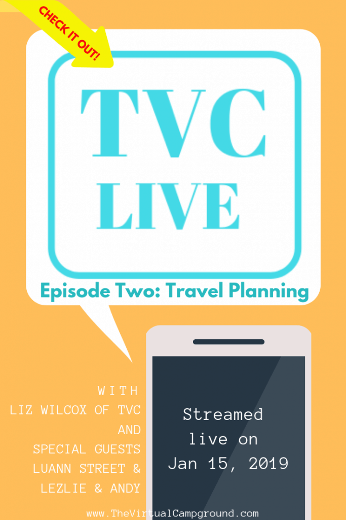 The Virtual Campground's very own podcast on everything RV-living with enough laughs to fill a 5th wheel! Join Liz and your fellow RV enthusiasts from around the globe for Live Video episode number two: travel planning. | www.TheVirtualCampground.com #RVPodcast #fulltimeRVliving #travel #travelplanning #RVcampgrounds #boondocking #RVfun