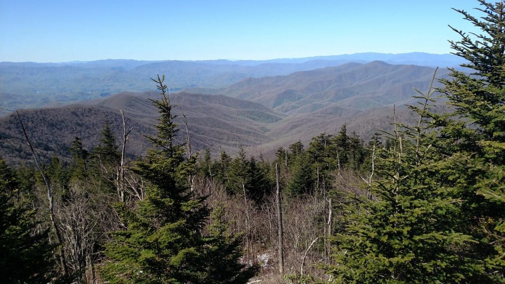view from the top of clingmans dome in the Great Smoky Mountains National Park