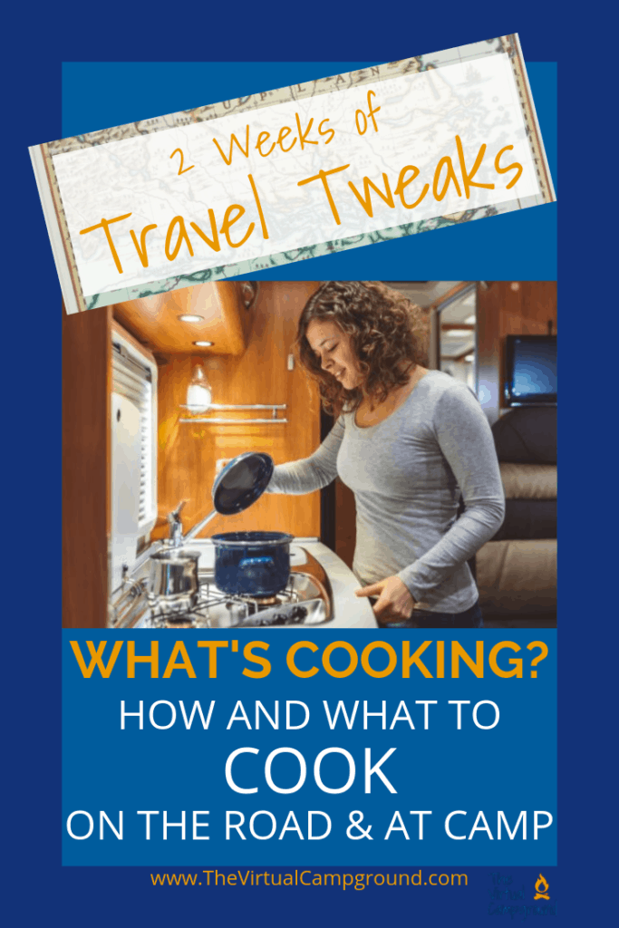 Click to read the best recipes, cooking tips, and menu planning ideas for meals to cook in an RV kitchen and when you arrive at your campground or boondocking travel destination.