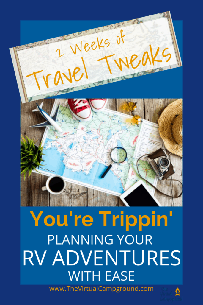 If you find yourself trippin' about road trips then this is a post for you! Join us at The Virtual Campground for two weeks of travel tweaks where we share tips and hacks like how to plan your RV travel adventures with ease. Keep it simple. Keep it wander-ful. Click to read more.