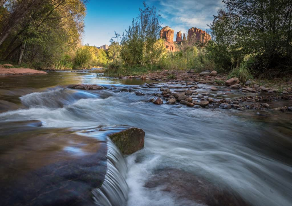 Cathedral Rock in distance with Oak Creek flowing in the foreground