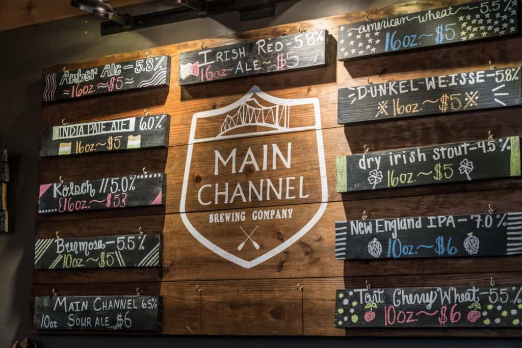 Beer menu at Main Channel near Lake Guntersville State Park