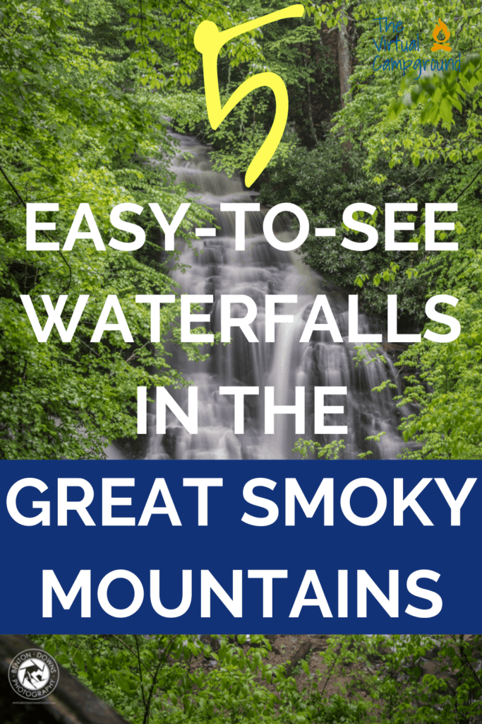 5 easy to see waterfalls in the Great Smoky Mountains of North Carolina and Tennessee.