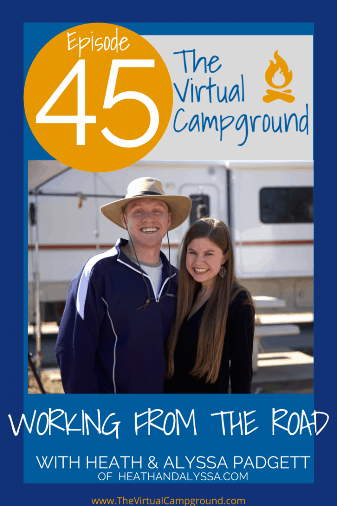 Join us for episode number 45 of The Virtual Campground LIVE where Heath and Alyssa Padgett join us as our special guests to discuss work from the RV and how to make money on the road.